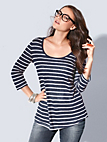 Emilia Lay - Round neck top with 3/4-length sleeves