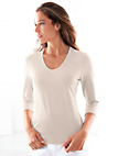 Peter Hahn - V-neck top with 3/4-length sleeves