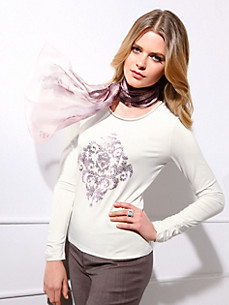 Basler - Round neck top with a little satin border