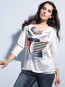 FRAPP - Round neck top with 3/4-length sleeves