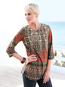 Green Cotton - Round neck top with 3/4-length sleeves