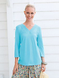 Green Cotton - V neck top with 3/4-length sleeves