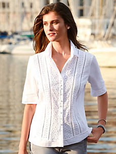 Just White - Blouse with vented short sleeves