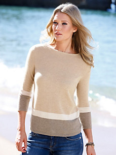 Peter Hahn Cashmere Nature - Pullover with 3/4-length sleeves in 100% cashmere