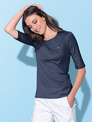 Lacoste - Round neck top with 1/2-length sleeves