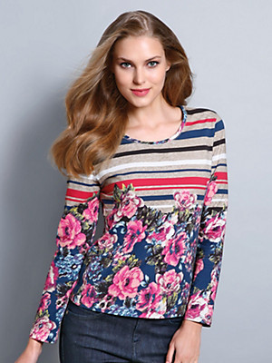 Peter Hahn - Round neck top with 3/4-length sleeves