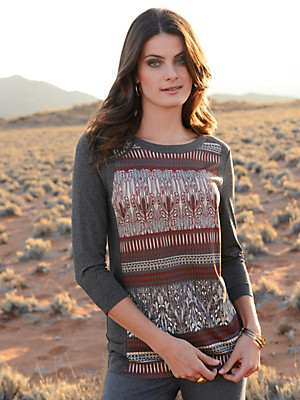 Riani - Round neck top with 3/4-length sleeves