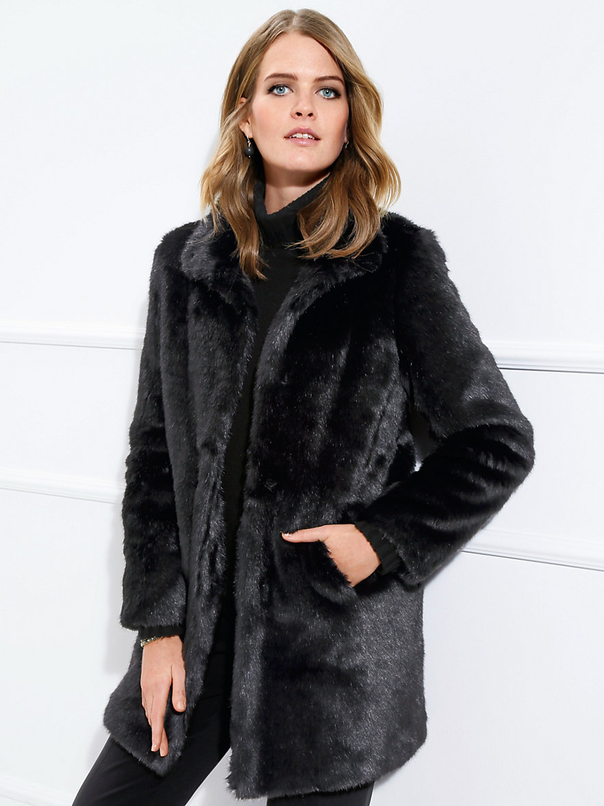 Basler-Short faux fur coat-black