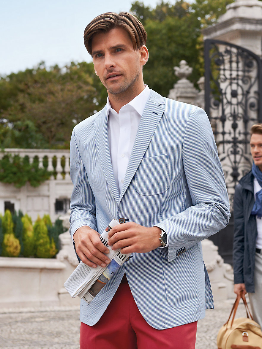Carl Gross-Sports jacket in pure natural material-blue/white
