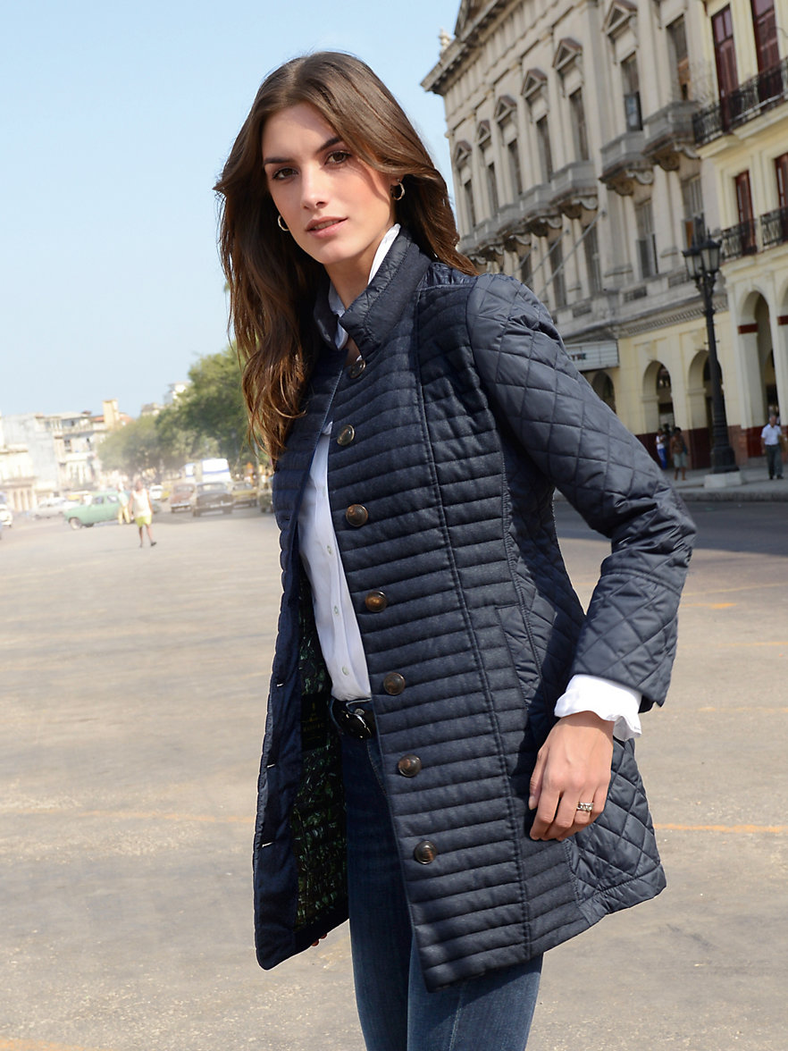 HABSBURG-Long quilted jacket-navy