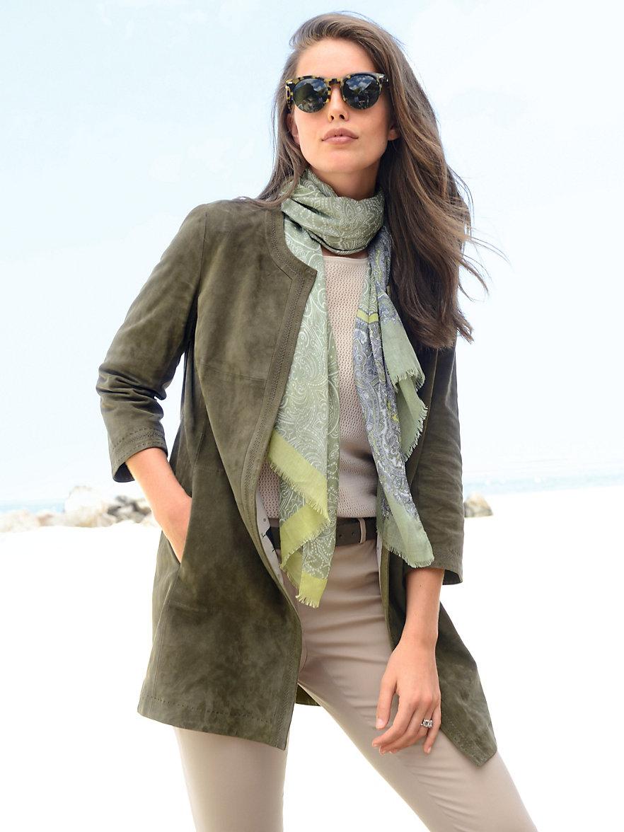 HABSBURG-Short leather coat-dark olive