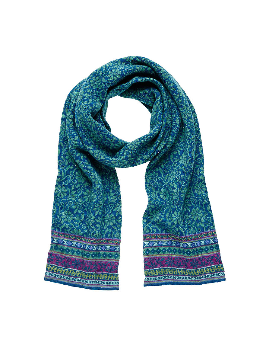 inkadoro knitted scarf blue green multi coloured