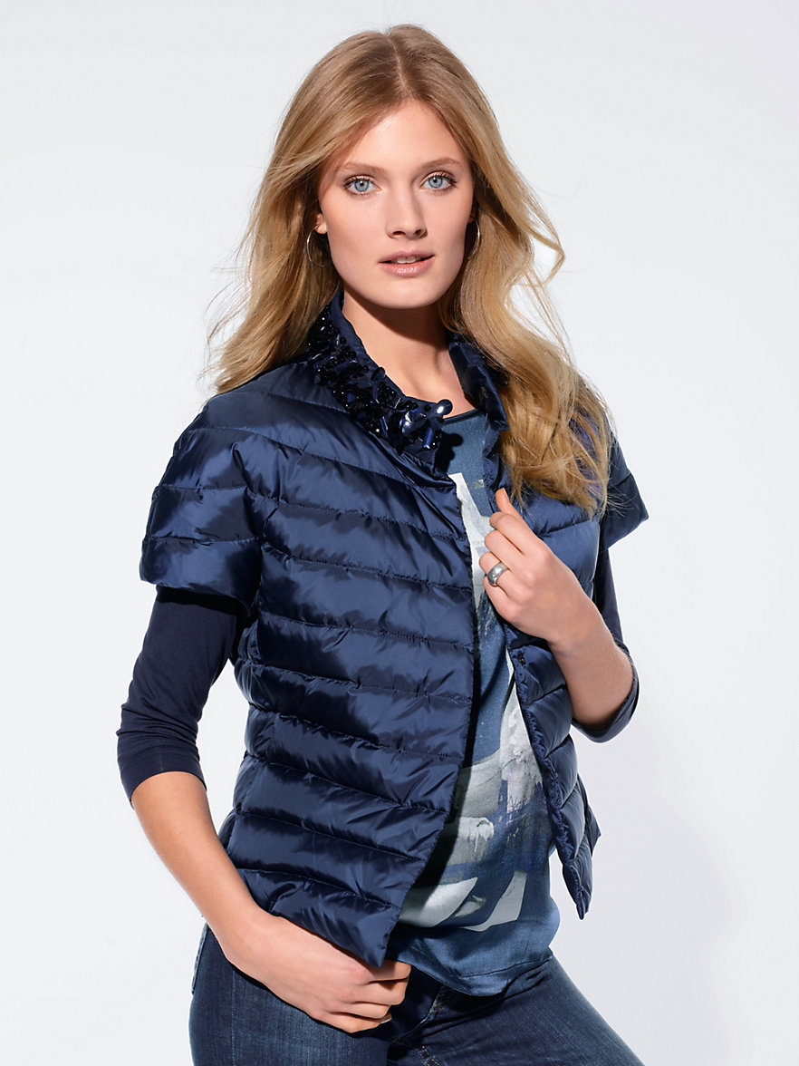 Laurèl-Quilted down jacket with short 1/2-length sleeves-navy