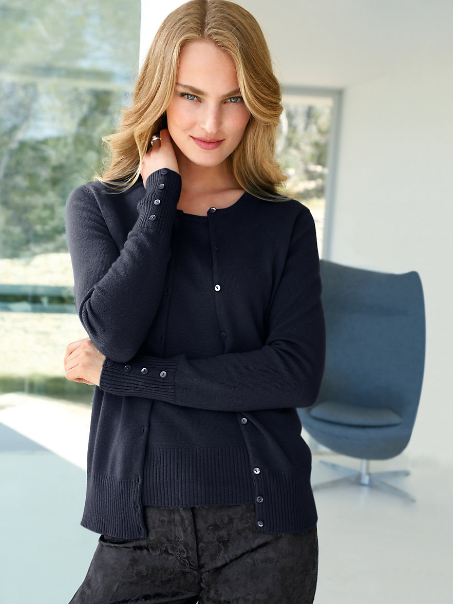 Women'S Cashmere Twin Sets - Cardigan With Buttons
