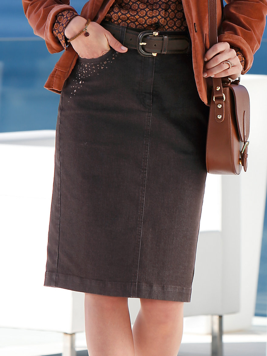 Peter Hahn-Denim skirt-brown denim