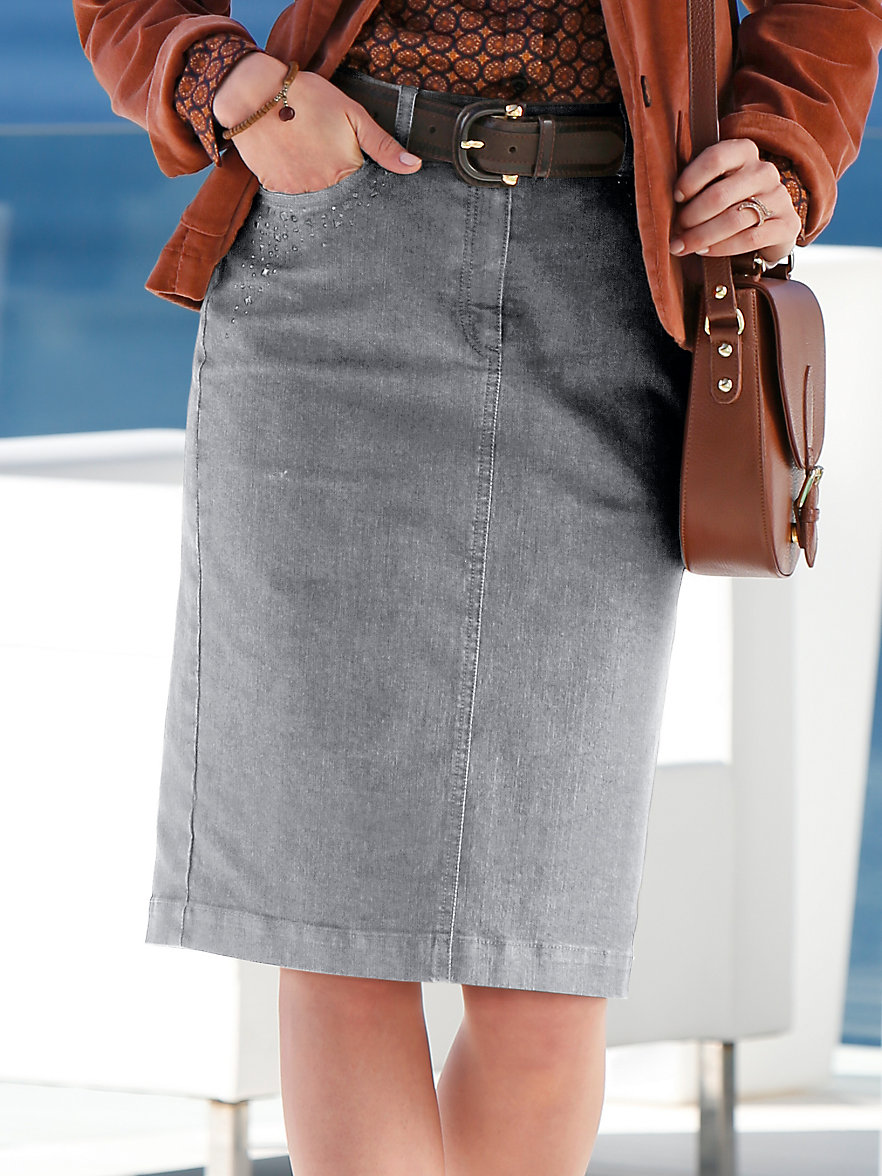 Peter Hahn-Denim skirt-grey denim