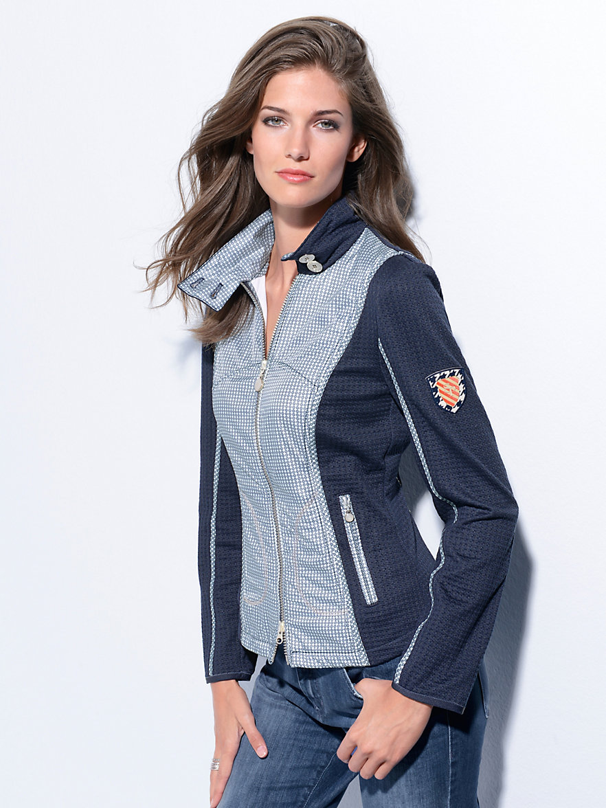 sportalm kitzb hel jersey jacket navy stone. Black Bedroom Furniture Sets. Home Design Ideas