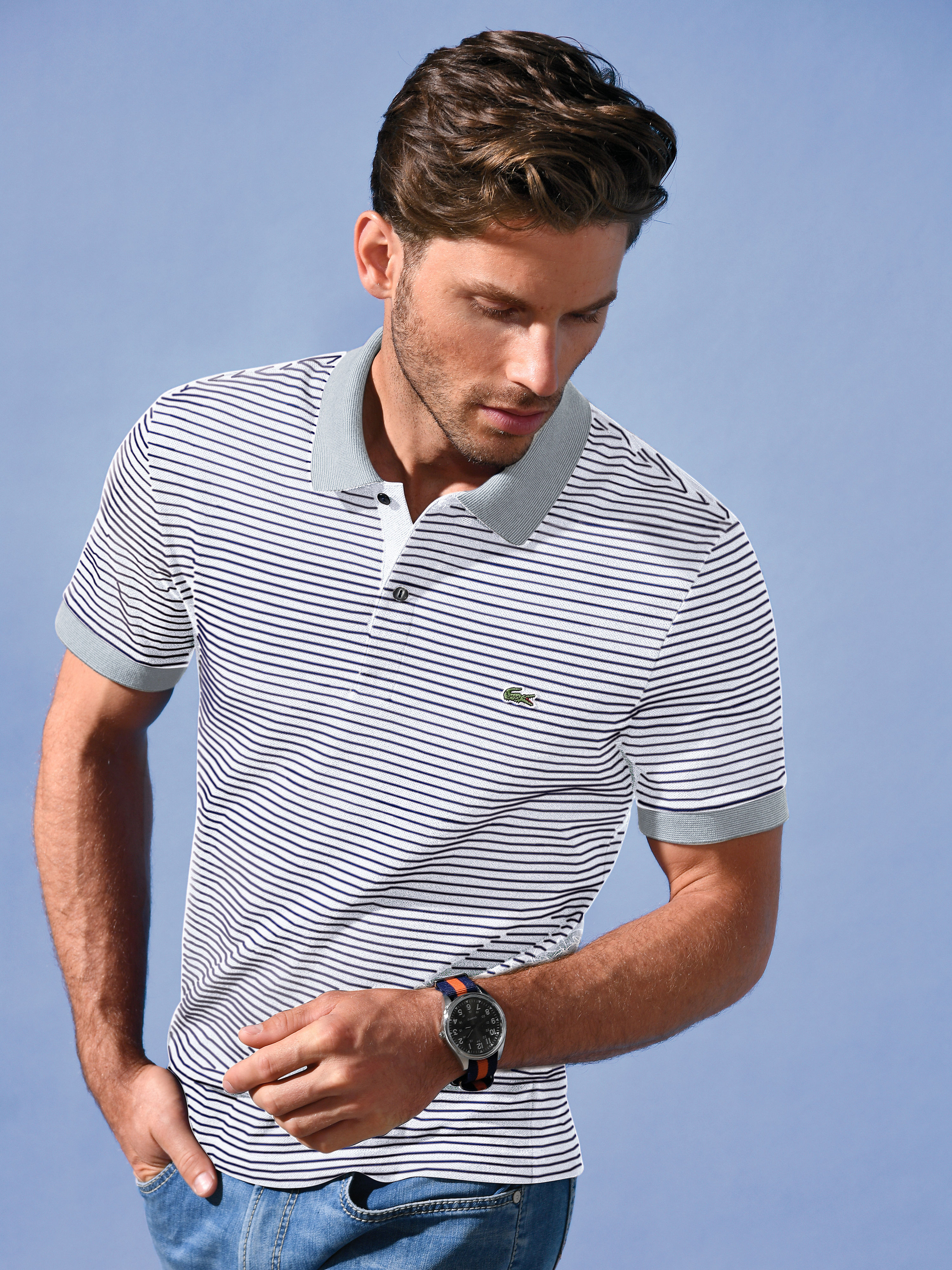 """Striped polo shirt – """"PH 4009"""" from Lacoste white"""