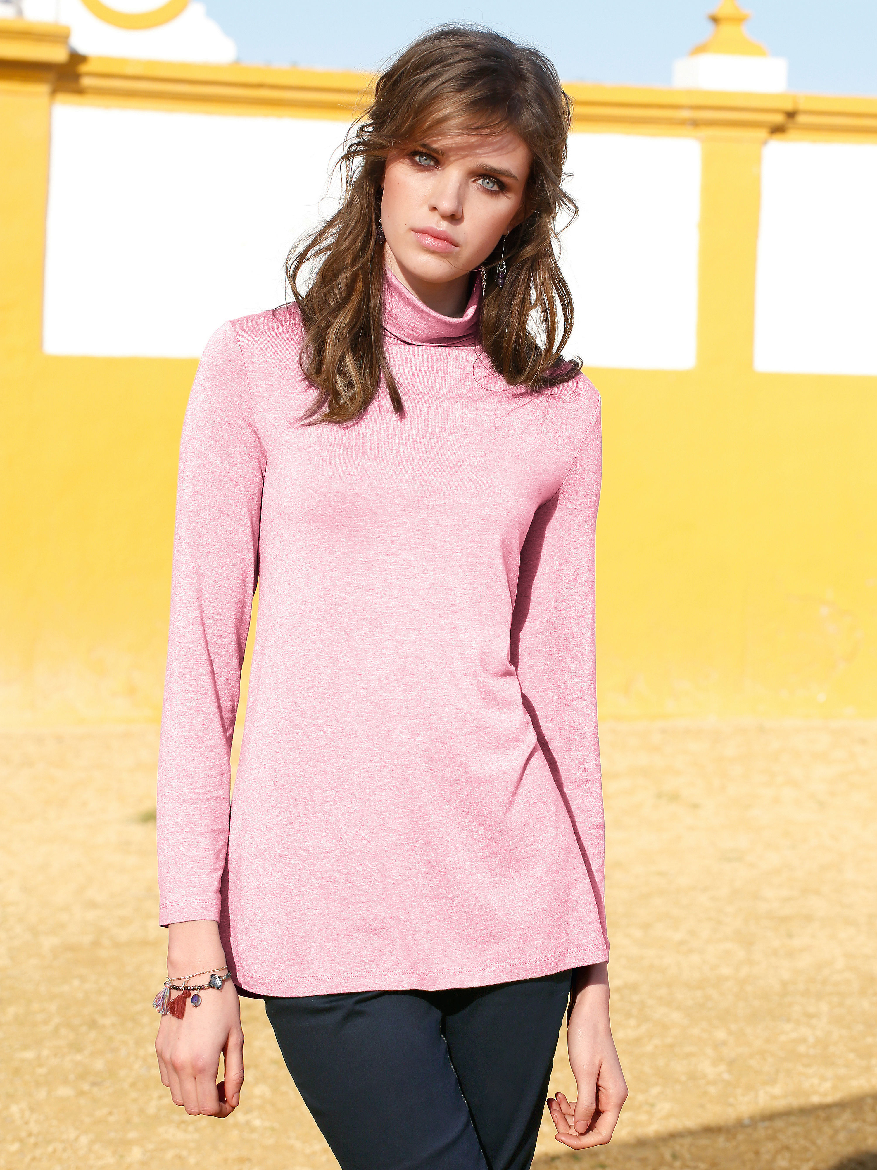 Roll neck top from Peter Hahn bright pink