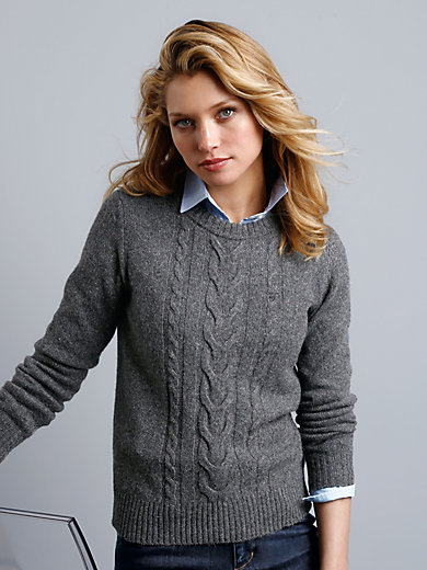 GANT - Pullover in a tweed look with cable stitching