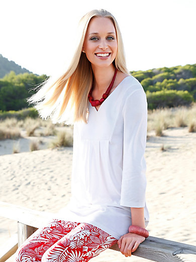 Green Cotton - Long top with 3/4-length sleeves and a V neckline