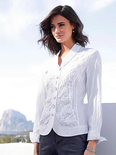 Just White - Blouse with shawl collar
