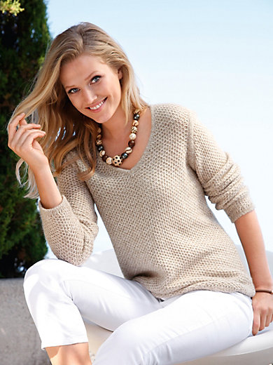 Peter Hahn Cashmere Nature - V neck jumper in 100% cashmere