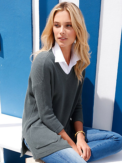 Peter Hahn - V-neck jumper with 3/4-length sleeves