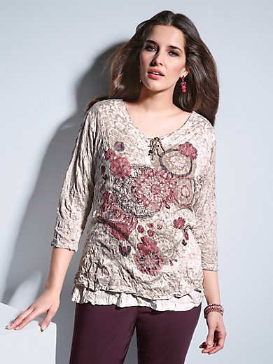 Via Appia Due - Round neck top with 3/4-length sleeves